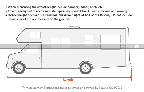 Goldline Class C RV Cover Measurement Guide