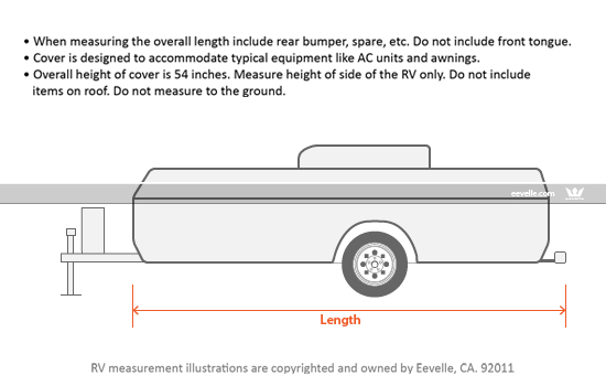 Goldline Pop Up Trailer Cover Measurement Guide