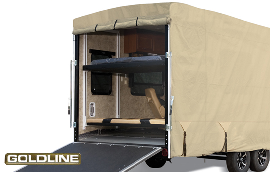 Zippers allow full access to rear of trailer without removing cover.