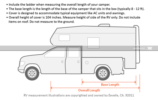 Goldline Truck Camper Cover Measurement Guide