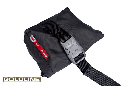 Handy throw pouch simplifies the installation process. Clip onto strap and throw underneath RV.