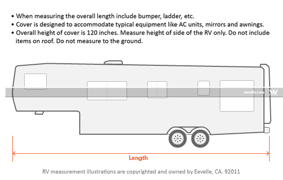 Be sure to measure your RV carefully. Do not rely on measurements published by the manufacturer or dealer.