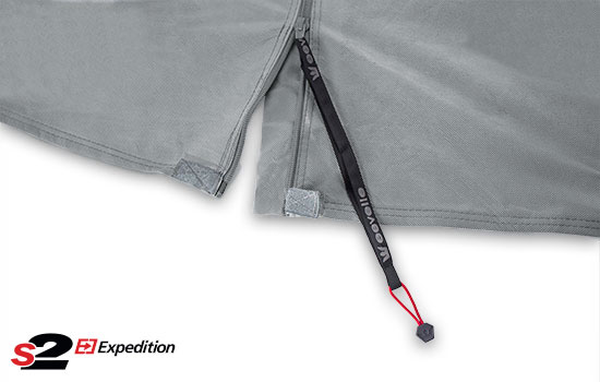 Heavy duty zippers with extended pulls on front, rear, and both sides.