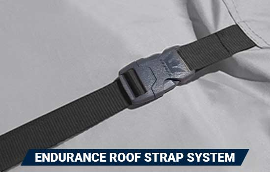 Endurance Roof Straps™ are sewn into the seam where the sidewall meets the roof, and come with adjustable straps and quick release buckles for quick, easy install.