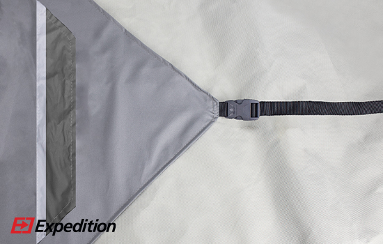 Reflective strip on tension flags promotes night time safety.