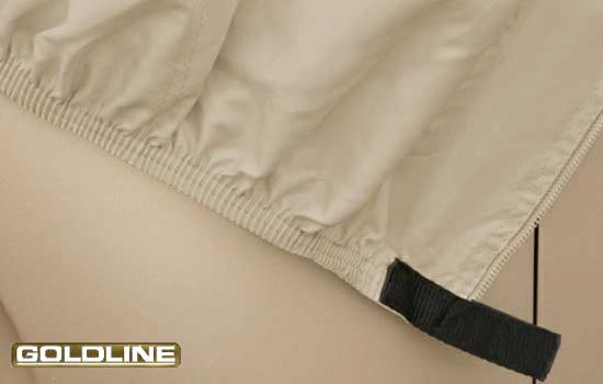 Elasticized hems on the corners provide a snug fit for easy installation.