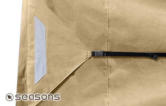 Oversize tension flags on front and rear of cover help create a snug custom-like fit.